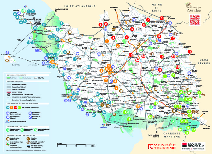 Map Of France Vendee Region.Tourist Map Camping Bord De Mer Jard Sur Mer Vendee